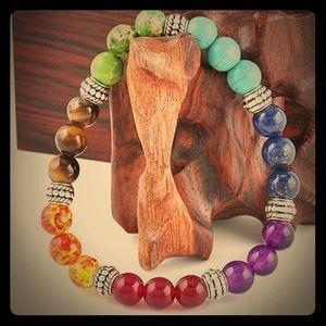 Multi-Gemstone Chakra bracelet w/Silver spacers